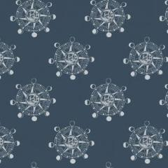 Aweigh North - Star Compass in Blue -  Rae Ritchie for Dear Stella - ST-SRR1061BL - Half Yard