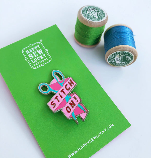 Happy Sew Lucky - Stitch On - Enamel Pins - HSL-STITCH-PIN
