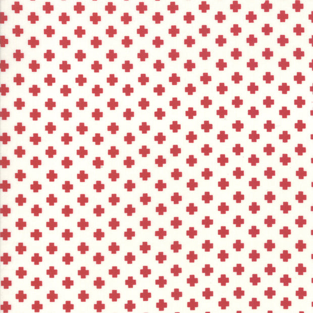 The Christmas Card - Crosses in Cream Red - Sweetwater for Moda - 5777 11 - Half Yard