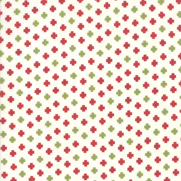 The Christmas Card - Crosses in Red Green - Sweetwater for Moda - 5777 24 - Half Yard