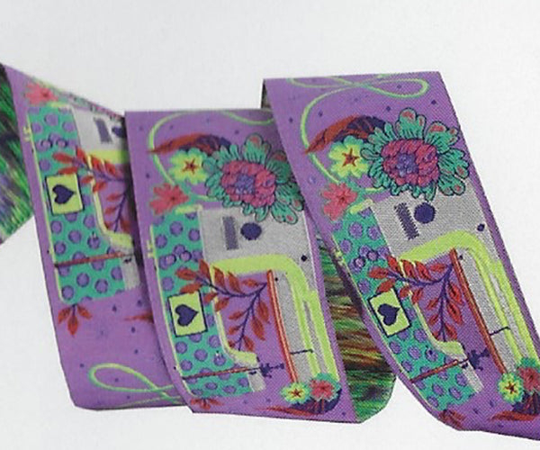 Renaissance Ribbons - Tula Pink Homemade - Pedal to the Metal in Night - TK-54/38mm Col 3 - One Yard