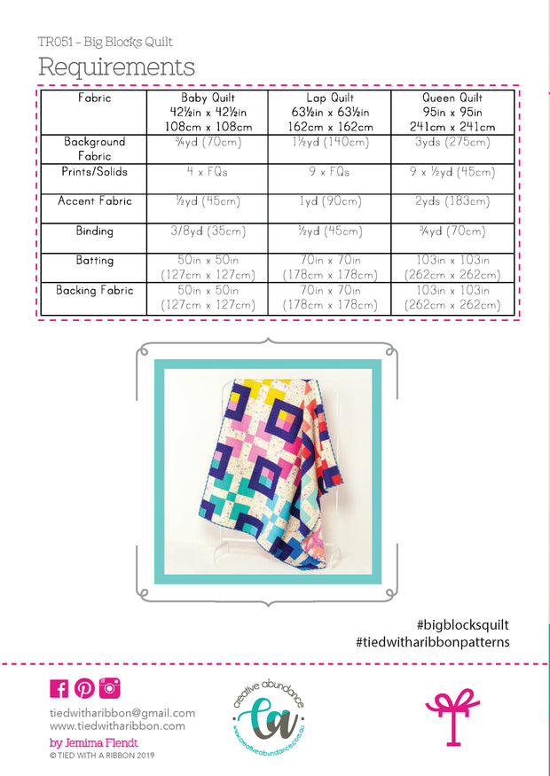 PRESALE - Big Blocks - Quilt Pattern - Tied With a Ribbon - Paper Pattern