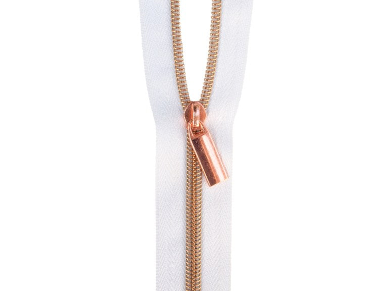 Zipper Tape - White Tape with Copper Coil - #5 - 3 Yards