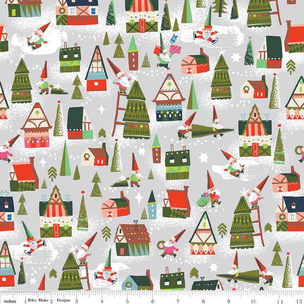 Way Up North - Houses in Gray - Jill Howarth for Riley Blake - C7321-GRAY - Half Yard
