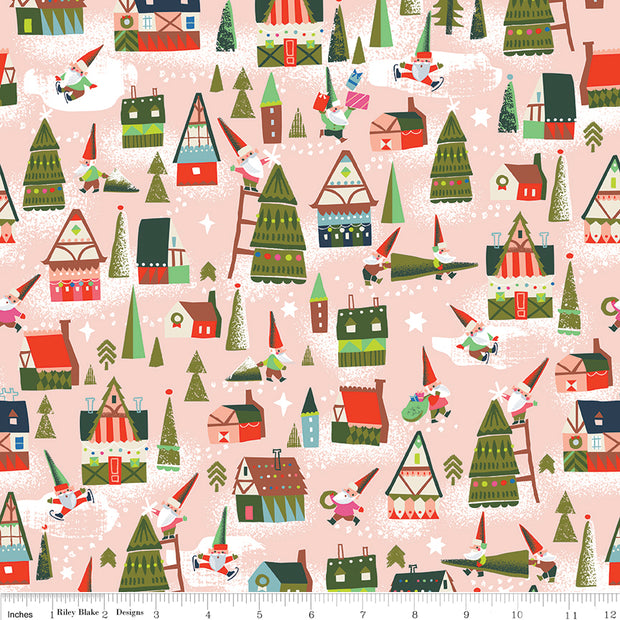 Way Up North - Houses in Peach - Jill Howarth for Riley Blake - C7321-PEACH - Half Yard