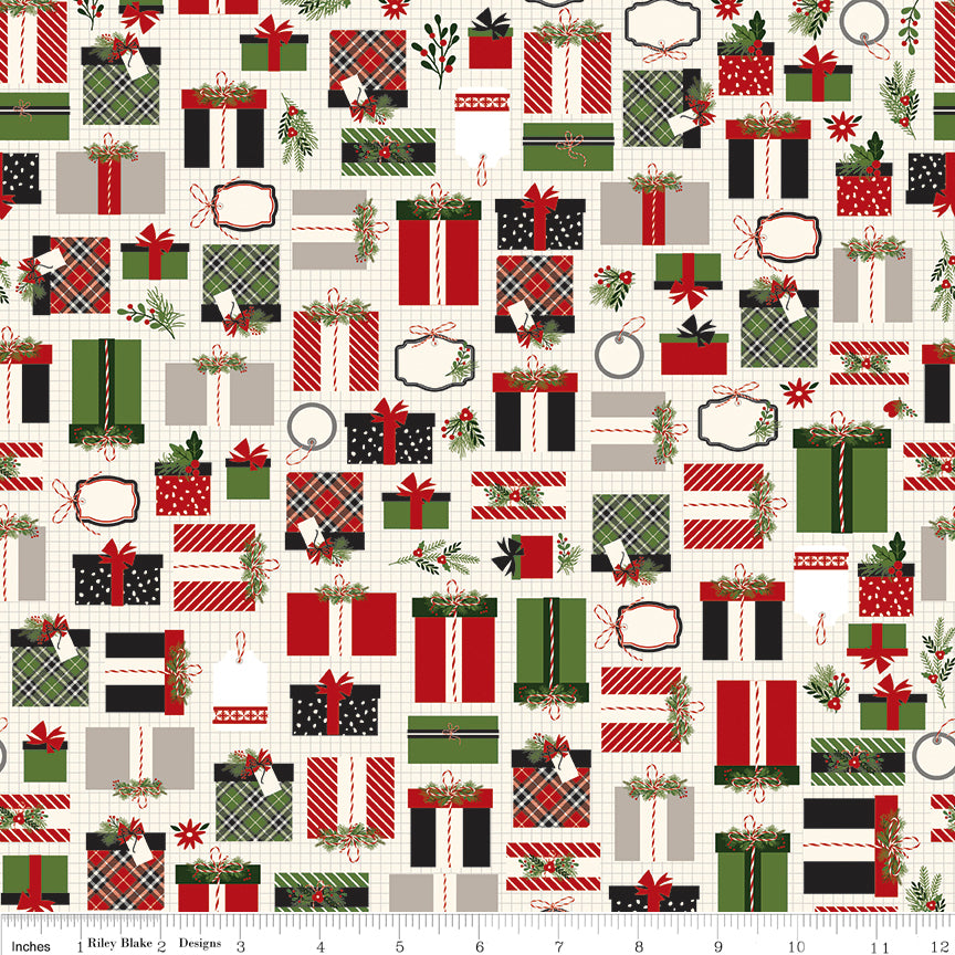 Christmas Delivery - Presents in Cream - Carta Bella Paper Co. for Riley Blake - C7331-CREAM - Half Yard