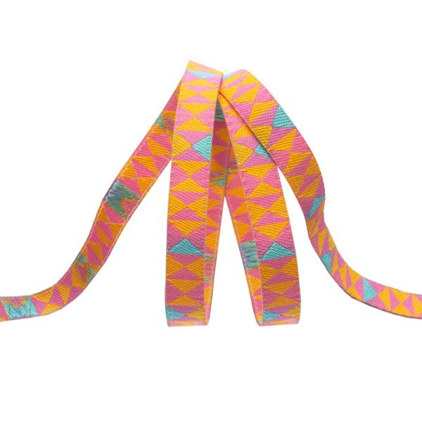 Renaissance Ribbons - Tula Pink Monkey Wrench - Hourglass in Mango - TK-53/8mm Col 1 - One Yard