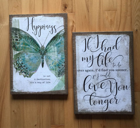 Burlap Wall Plaques Set of Two Birthday Gift Love Inspirational 9.5 x 13 in.