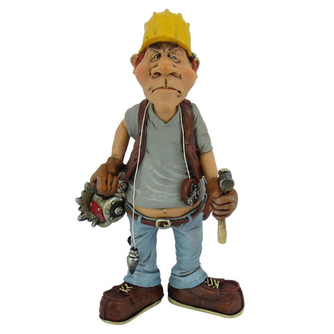 CONSTRUCTION WORKER occupation  WARREN STRATFORD MALE FIGURINE WITH SAW