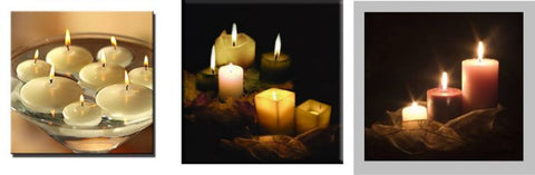 3 Assorted Candle LED Canvas Wall Plaques