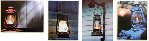 4 Assorted Lantern LED Canvas Wall Plaques