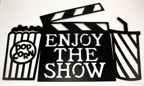 METAL ENJOY THE SHOW HOME THEATRE WALL ART