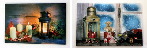 2 Assorted Christmas LED Canvas Wall Plaques