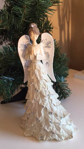 Angel Figurine Standing With Glitter Leaf Dress  8 inches