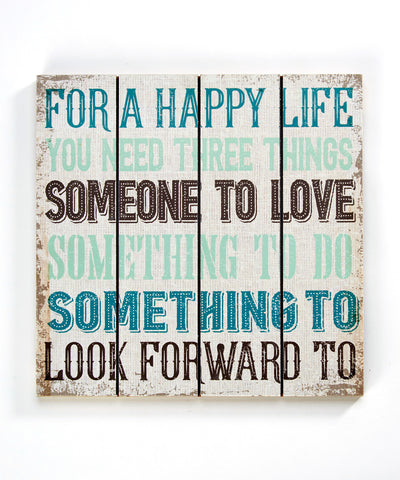 Happy Life Wood Wall Plaque Positive Quotes 14x14 in.