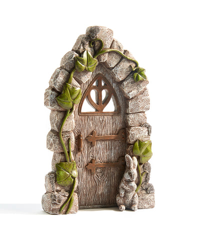 Fairy Garden Door Moss and Ivy Design 8.7 inches H