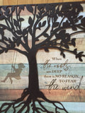 Metal Tree on Wood Girl in Swing Wall Plaque 16x14 inches
