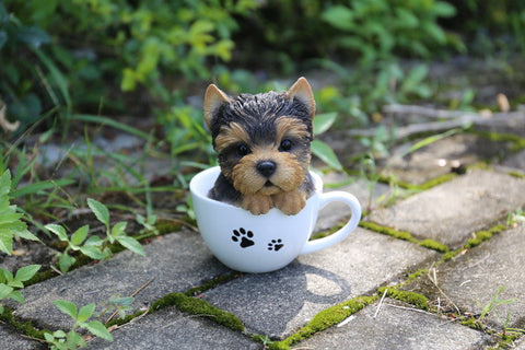 YORKSHIRE TERRIER PUPPY DOG SITTING IN TEACUP LIFELIKE FIGURINE
