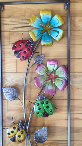 Ladybugs and Flowers Metal Wall Plaque Home Decor