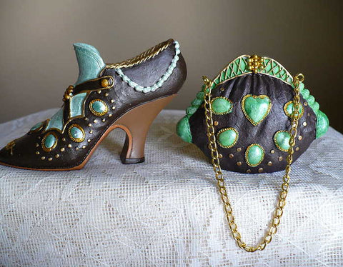 Collectible Miniature Shoe Coordinating Purse set Resin 3.5 in shoe gift Diva