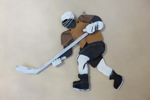 Hockey Player Wall Plaque 17 x 18 in. Wood and Fabric.