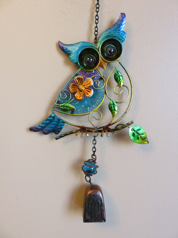 Owl Fusion Glass and Metal Wind Chime with Flowers-Blue