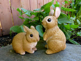 2 Rabbit Bunny Figurines Cabin Country PetPals Resin Statue Ornament New Bunnies