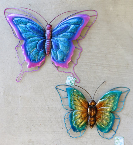 2 Metal Butterfly Wall Plaques