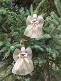 2 Victorian Handmade Ribbon Angels 5 in. Plain Light Gold