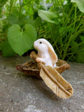 Miniature Woodland Bunny Rabbit with Paddle in Boat-Fairy Village