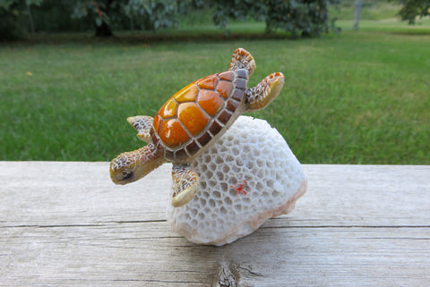 Garden Turtle in Coral Figurine