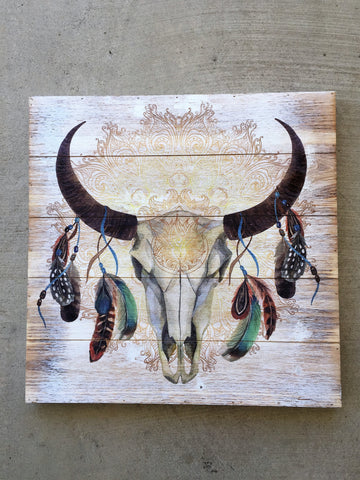 Bull Skull with Feathers Wood Wall Plaque 20 inches