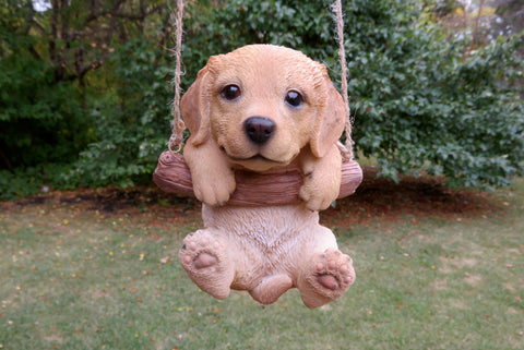 Golden Retriever Puppy Hanging On A Swing Johnnyappleseedhomeandyard