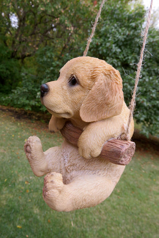 Golden Retriever Puppy Hanging On A Swing