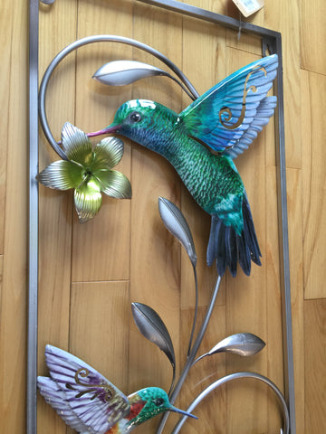 Hummingbird Metal Wall Plaque 27 in. H. x 12 in. W.
