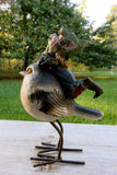 Pixie Girl Riding Bird Figurine 6.5 in.T New Resin Metal Legs Pixies