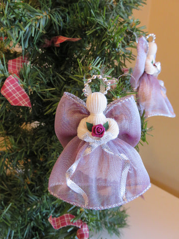 2 Victorian Ribbon Angels 3 in. Mauve