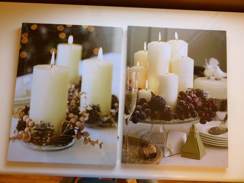 2 Assorted Christmas Candles LED Canvas Wall Plaques