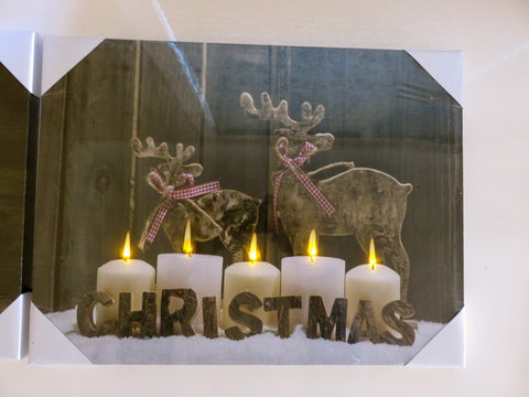 Reindeer Christmas LED Canvas Wall Plaque