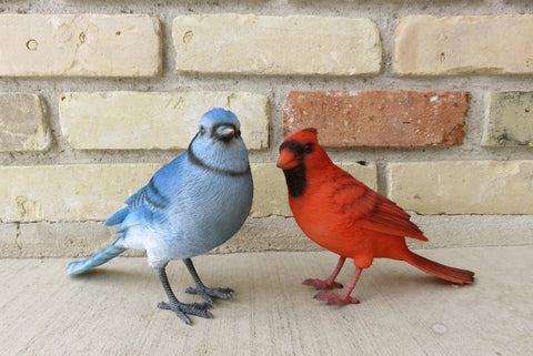 Blue Jay and Red Cardinal Bird Figurines