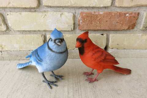 Blue Jay And Red Cardinal Bird Figurines Johnnyappleseedhomeandyard