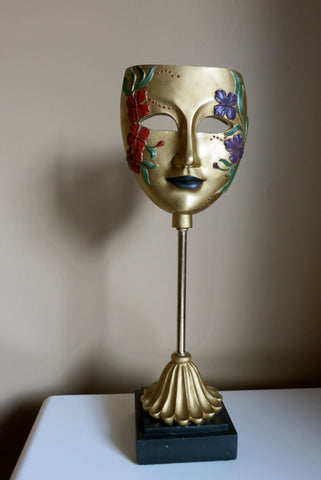 Venetian Mask on Stand Resin 17 in. Mardi Gras