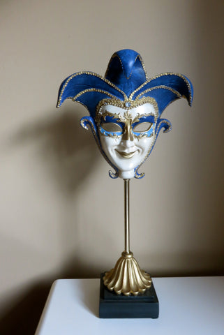 Venetian Mask on Stand Resin 18 in. Mardi Gras