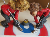Curling Women`s Team Winter Ice Comical Figurines Resin W. Stratford