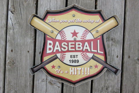 VINTAGE BASEBALL METAL LED SIGN ( Reproduction)
