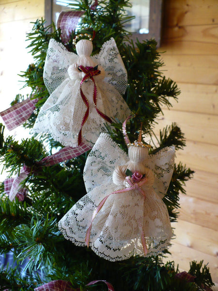 2 Victorian Handmade Lace Angels Johnnyappleseedhomeandyard
