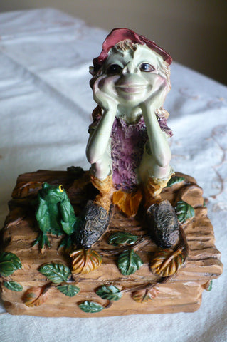 Pixie Trinket Box-Boy with Frog Anthony Fisher Pixies