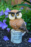 GARDEN OWL FIGURINE WITH SAYING Welcome to my Garden 7.25in.x4.5in statue yard