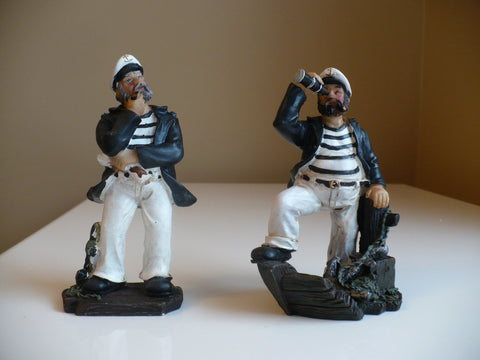 TWO 5 in. SAILOR FIGURINES RESIN NAUTICAL DECOR SMOKES PIPE ANCHOR STATUES