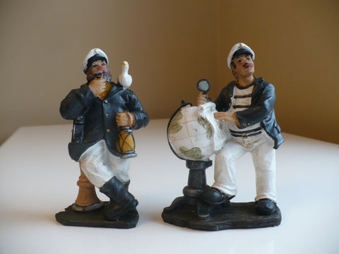 TWO 5 in. SAILOR FIGURINES RESIN NAUTICAL DECOR GLOBE SEAGULL GIFTS STATUES